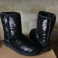 UGG Classic Short Cosmos Sequin Black Sheepskin Warm Fur Boots Size US 8 Womens