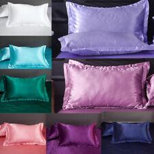 1Pair Silk Satin Standard Pillow Home Pillowcase Cover Cushion Case Decor Bed