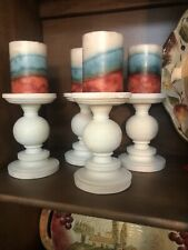 Set Of 4 White Pillar Candle Holders With Candles Retail $26.98 Each.