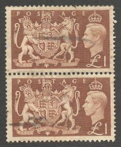 AOP GB Great Britain KGVI King George VI 1951 £1 used pair SG 512 £36
