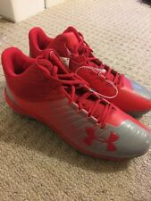 Under Armour Low MC Football Cleats, Red Men's Size 15