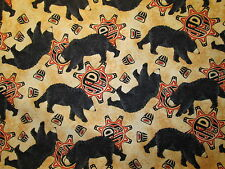 NATIVE AMERICAN BEAR TOTEM SPIRIT ANIMALS BLACK BEIGE COTTON FABRIC FQ