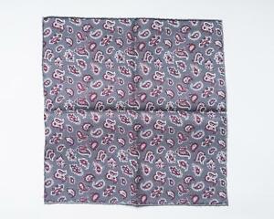 "Isaia Napoli NWT Burgundy Gray Double Print Paisley Silk Pocket Square 12"""