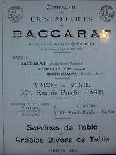 BACCARAT 1916 art de table Catalogue livre cristalleries Format 100 PAGES PDF