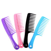 Wet Haircut Hair Comb Hairdressing Plastic Detangler Handle Wide-tooth Comb Kn