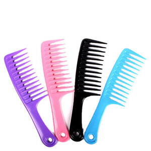 Wet Haircut Hair Comb Hairdressing Plastic Detangler Handle Wide-tooth Comb O❤