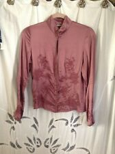 Vents d'Ailleurs  deep rose silk charmeuse , embroidered blouse size 6