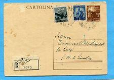 £.3 (C131) + DEM.£.5 + £.10 ardesia ann.S.MARIA DI LICODIA, 08.10.47 (700339)