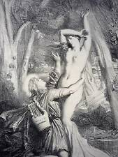 SALE THEODORE CHASSERIAU APOLLON ET DAPHNE LITHOGRAPH ETCHING APOLLO C: 1844 ART