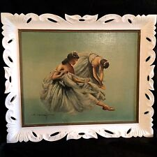 "VINTAE OIL PAINTING ""BALLERINAS""CREATED BY J.COLLAZZI IN 1950S.ORIGINAL FRAME."