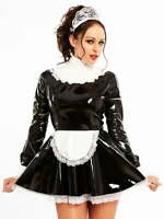 Honour Women's Maid Dress Black & White Costume Kinky Roleplay Outfit Frill Hem