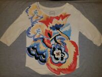 Lucky Brand Women's T-shirt small 3/4 Sleeve floral scoop neck