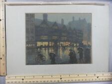 Rare Antique Orig VTG 1905 Staples Inn Winter Afternoon, T R Way Litho Art Print