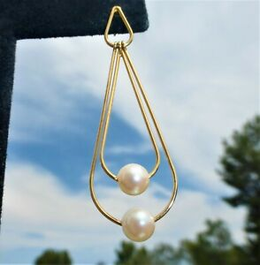 OUTSTANDING 14k YELLOW GOLD Cultured Pearl DANGLE EARRINGS Amazing on