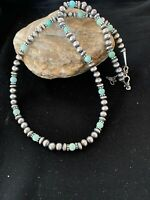 """Navajo Pearls Sterling Silver DRY CREEK TURQUOISE Bead Necklace 20"""" Sale 3244"""