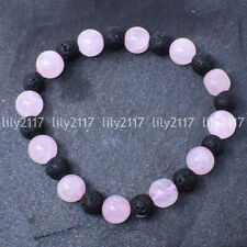 Natural 10mm Rose Quartz & Lava Stone Round Gemstone Beads Bracelet 7.5'' AAA
