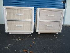 Pencil Pair Bamboo Wicker 2 Nightstands Cottage Coastal Tropical Faux Rattan TLC