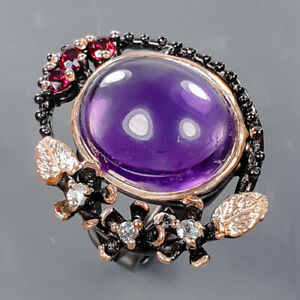 Jewelry Handmade Amethyst Ring Silver 925 Sterling  Size 7.5 /R177664