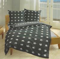 Bettwäsche 135x200 Biber Baumwolle Bierbaum Sterne grau weiß 4tlg Bettgarnitur
