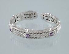 Judith Ripka Sterling Silver Amethyst Hinged Cuff Bracelet Nice Condition!