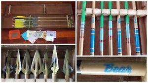 7 Vintage Broadhead Arrows 3 Bear Wood Case + 7 New Jersey Bow Hunter Licenses