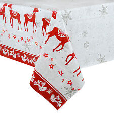 Christmas Tablecloth Large 140 x 240cm PVC Wipe Clean Red Reindeer Table Cloth