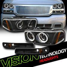 Black Halo Projector Headlights+Bumper Parking Amber DY 99-07 Sierra/00-06 Yukon