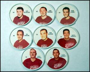 1960-61 Salada Shirriff Hockey Coins, Detroit Red Wings Partial Team Set/8