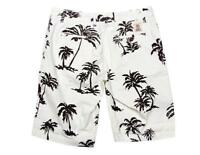 FRANKLIN AND MARSHALL CHINO SHORTS PALM TREE PRINT WHITE NAVY BLUE W36 RRP £70