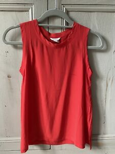 Authentic Club Monaco Red 100% Silk Top Size XS