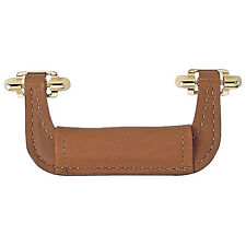 Light brown Genuine Leather Handles, Brass Plated Finish Hardware