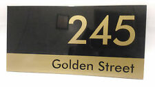 Custom Black & Gold House Address Signs 300mm x 150mm
