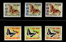 1968 South Vietnam Sc #J15-20 Moths-Butterflies Postage Due Set MNH, SCV $46.75