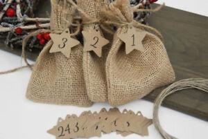 Christmas Advent Calendar Star tags Advent  number tags