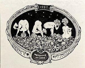 "Fine Estonia Estonian ""Metsaviir"" Ex. Libris Bookplate by Hugo Hiibus 1929-2019"