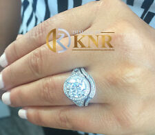 14K WHITE GOLD ROUND CUT MOISSANITE NATURAL DIAMOND ENGAGEMENT RING BAND 3.00ctw
