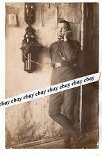 ca 1920 Soldier w Antique Ericsson Telephone Orig. Photo Estonia Estonian Army