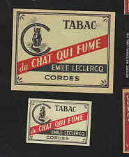 Ancienne étiquette allumette Belgique  BN7865 Tabac  Chat qui fume 2