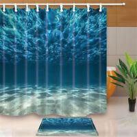3D Waterproof Seabed Design Bathroom Shower Curtain Bath Mat Hooks Set  UK! US1