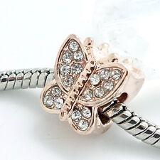 1pcs gold KC CZ European Charm Beads Fit 925 Necklace Bracelet Chain #400S