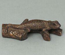 "1940's Japanese handmade Boxwood Netsuke ""Lizard"" Figurine Carving XY02"