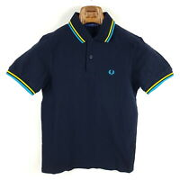 Fred Perry Poloshirt Herren XS Blau Gelb Pique Kurzarm Shirt M1200
