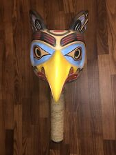FIRST NATIONS HAIDA CARVED CEDAR WOOD CEREMONIAL EAGLE RATTLE