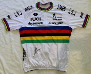 Julian Alaphilippe signed 2021 World Champion Deceuninck cycling jersey *PROOF*