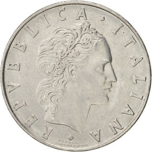[#38600] ITALY, 50 Lire, 1971, Rome, KM #95.1, AU(55-58), Stainless Steel, 24.8