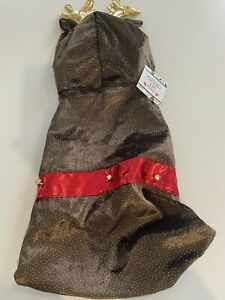 NWT Pet Christmas Costume Reindeer Hoodie Sz Large Brown Gold Holiday Xmas Dress