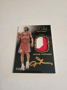 2015-16 Noir  2 Color Game Worn Patch On Card Auto SSP Allen Iverson #9/10 76ers