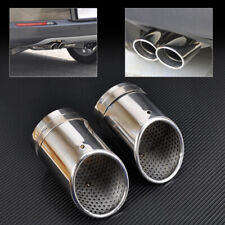 2X Stainless Steel Exhaust Tail Rear Muffler Tip Pipe Chrome Fit for Audi Vw set