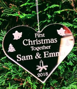 PERSONALISED CHRISTMAS TREE DECORATIONS, FIRST CHRISTMAS TOGETHER ANY MESSAGE