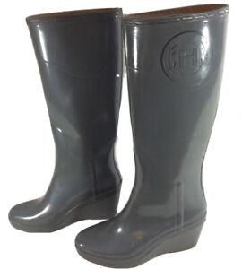 HUNTER Champery US Size 8M Grey Tall Zermatt Wedge Rubber Rain Boots EUC